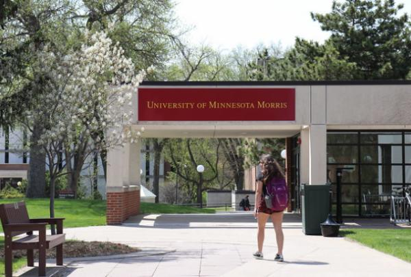 Student walking on the UMN Morris campus